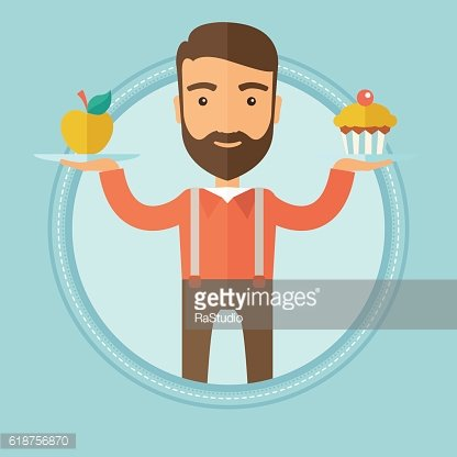 Man choosing between apple and cupcake.