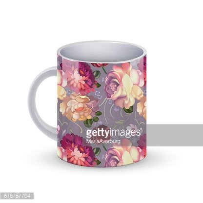 Coffee cup template illustration with flower russian traditional pattern. Vector