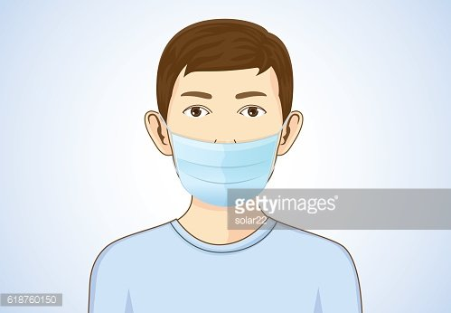 Boy wearing breath mask