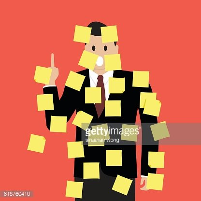 Businessman with a lot of sticky notes