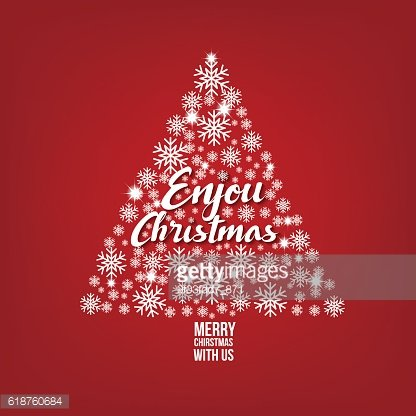 Christmas Card snowflake on tree with red background, vector ill