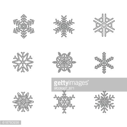 Snowflake Icon logo christmas, thin line stoke vector illustration