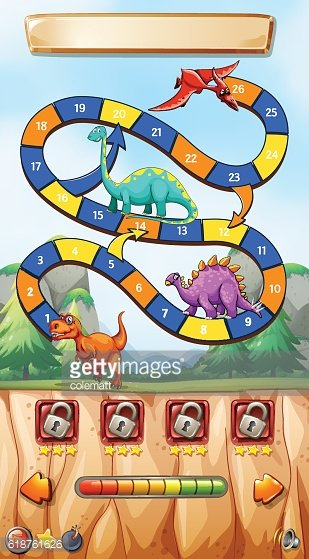 Game template with dinosaurs on cliff