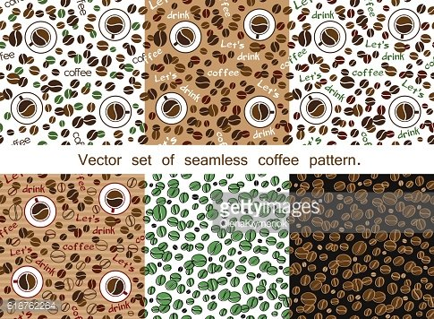 Set of seamless coffee pattern. Top view.