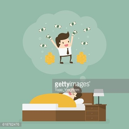 Sleeping man dreaming about a lot of money.