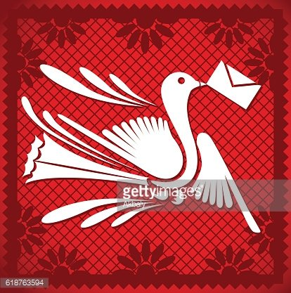 Cut Out Paper Composition – Message Bird Red