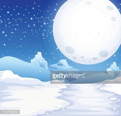 Scene with fullmoon on snowy night