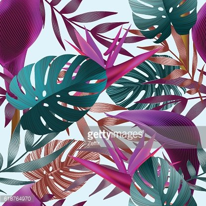 Tropical flowers, jungle leaves, bird of paradise flower.