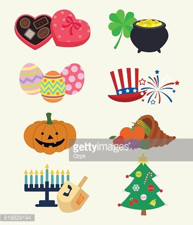 Holiday Symbols Icons - Illustration