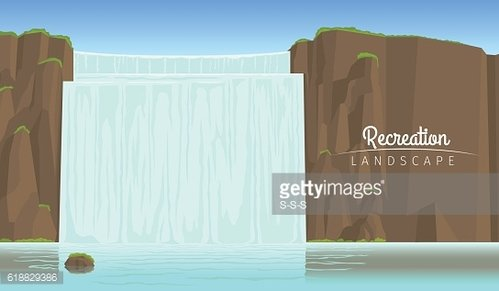 Tourism landscape background with waterfall