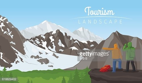 Winter tourism landscape with mountains