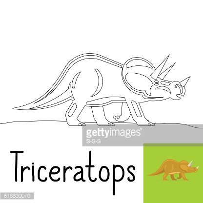 Coloring page for kids with Triceratops