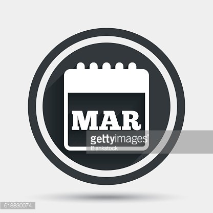 Calendar sign icon. March month symbol.