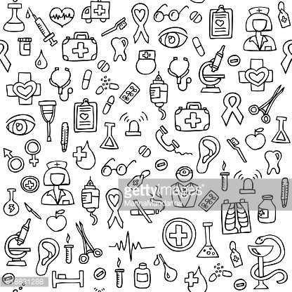 Hand drawn medical seamless pattern.
