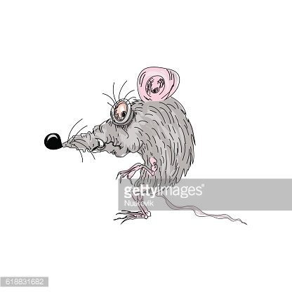 Rat mouse color cartoon character isolated on white