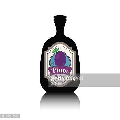 Black bottle with fruit label