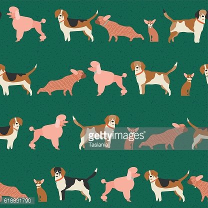 Dog puppy pattern seamless in vector