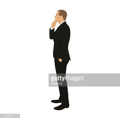 Business man standing and thinking, vector