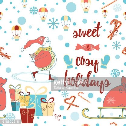 Christmas and Happy New Year seamless pattern with Snowman, gifts