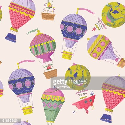 Various vintage hot air balloons. Seamless background pattern.