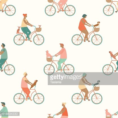 Funny cartoon bicycle riders group seamless pattern in vector.