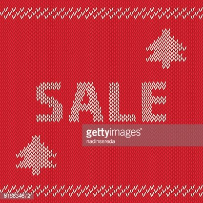 Winter sale knitted vector seamless pattern