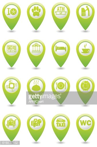 Service Icons set on the map pointer