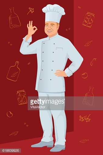 Smiling chef shows gesture delicious on background culinary spices.