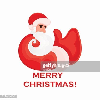 Cartoon Santa Claus that shows thumb up on a white
