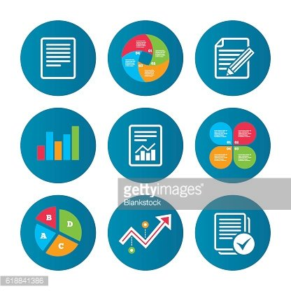Document icons. File with chart and checkbox.
