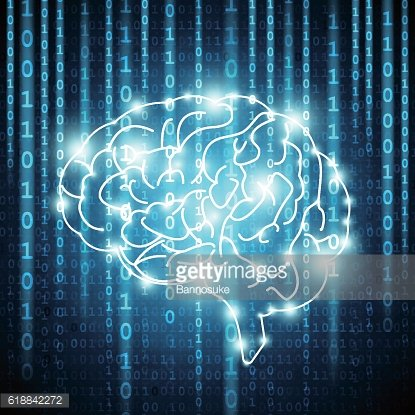 Background with matrix numbers and brain Vector