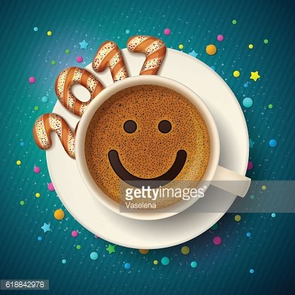 Coffee cup for good mood in New Year 2017