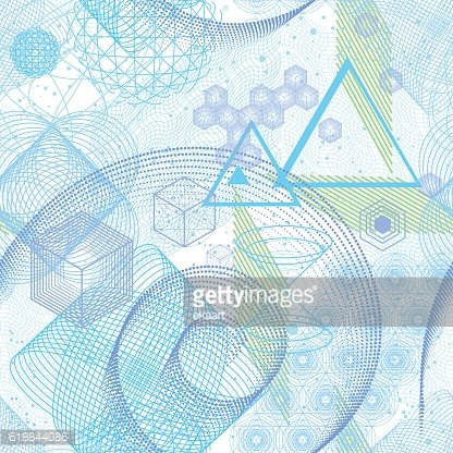 Sacred geometry elements seamless pattern