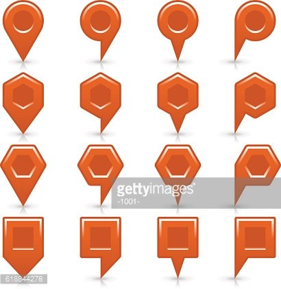 Flat brown color map pin sign location icon