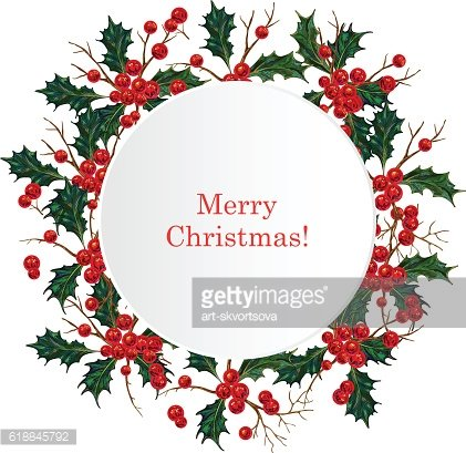 Merry Christmas sign in holly berry wreath