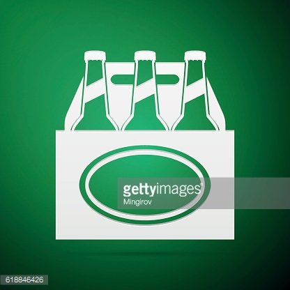 Pack of Beer flat icon on green background. Vector Illustration