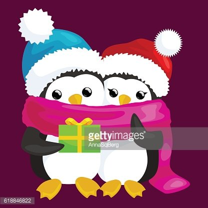 two happy cute Christmas penguin in hat and scarf are
