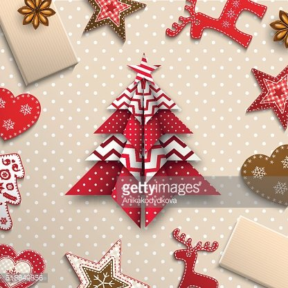 red, and origami chritmas tree, holiday theme, illustration