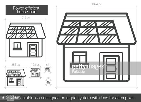 Power efficient house line icon.