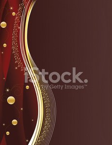 Red Christmas Background with Gold Ornaments, Stars