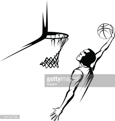 Basketball Player Going UP for A Dunk premium clipart
