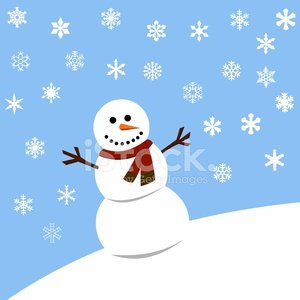 Snowman in winter with snowflakes