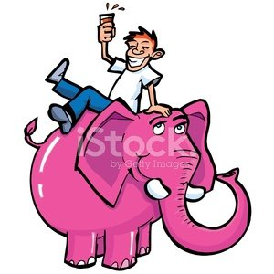Cartoon drunk on a pink elephant