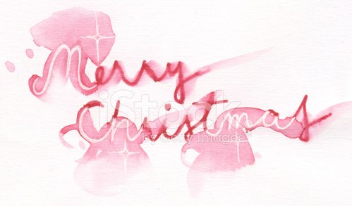 Painted watercolor Merry Christmas