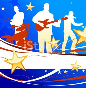 Patriotic Live Music Band On American Background Premium Clipart