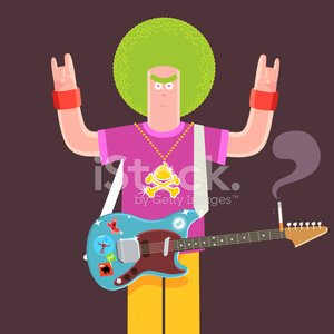 Evil Green Afro electric guitarist character illustration