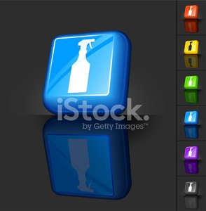 cleaning spray bottle royalty free vector 3D button