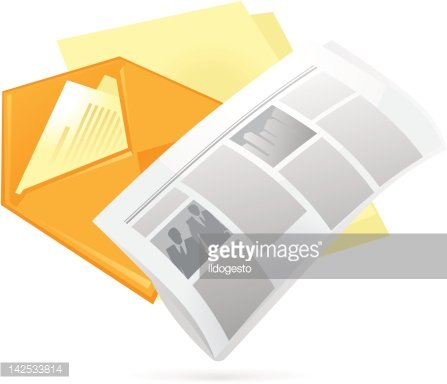 Icon of newspaper and letter