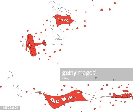 cartoon red aeroplane with banners love and be mine