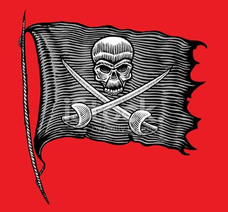 Pirate Flag Pen and Ink